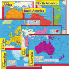 "Continents learning charts, 17""x22"", multicolor, sold as 1 package, 5 each per package"