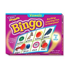 Vowels bingo game, 3-36 players, 36 playing cards/mats, sold as 1 each