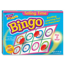 Bingo telling time game, 3-36 players, 36 cards/mats, sold as 1 each
