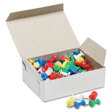 "Pushpins, length 3/8"", rust resistant, 100/bx, assorted, sold as 1 box"