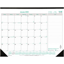 "Monthly desk pad,recycled, w/backer, 1mpp, 21-3/4""x17, sold as 1 each"