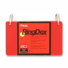 "Index cards ringdex,w/removable,poly tab,3""x5"",8 count,asst., sold as 1 package, 200 each per package"