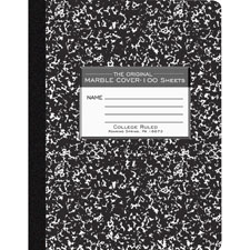 "Composition book,college ruled,100 sh,9-3/4""x7-1/2"",bk cvr, sold as 1 each"