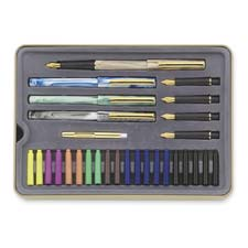 Calligraphy pens set,interchangeable nibs,5/st,assorted, sold as 1 set