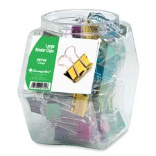 Baumgartens Lg Metallic Colored Binder Clips Tub