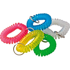 Wrist coil key chain, translucent assorted, sold as 1 each, 12 each per each