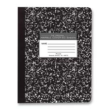 "Composition book,unruled,50 sheets,9-3/4""x7-1/2"",black cvr., sold as 1 each, 100 sheet per each"