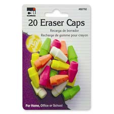 Eraser pencil caps, 20/pk, neon assorted, sold as 1 package