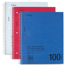 Mead 1-Subject Perforated College-Ruled Notebooks