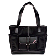 Day-Timer Pink Ribbon Black Microfiber Tote