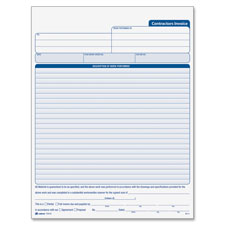 "Contractors invoice,3-part,crbnls,8-3/8""x11-7/16"",50st/bk,we, sold as 1 each"