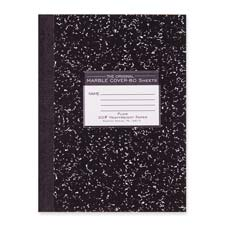 "Compostion book,unruled,20 lb.,80/sht,10-1/4""x7-7/8"",black, sold as 1 each"
