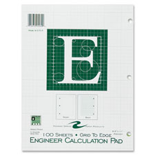 "Engineering pad,5""x5"" quad,3hp,200 shts,11""x8-1/2"",green, sold as 1 each"