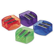 "Pencil/crayon sharpener, 2-hole, 1-1/4""x5/8""x1-1/4"", ast, sold as 1 each"
