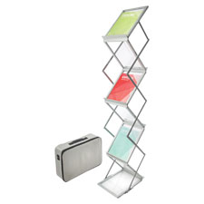 "Collapsible floor stand,6 pockets,11-1/2""x14-1/2""x60"",silver, sold as 1 each"