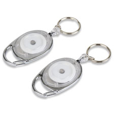 "Reel key chain, 30"" retractable cord, 6/pk, chrome, sold as 1 package"
