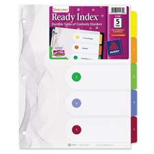 Avery Ready Index 5-Tab Fashion Tble of Cont Dvdrs