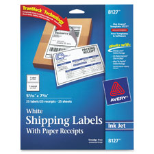 Avery White Shipping Label w/ Paper Receipt