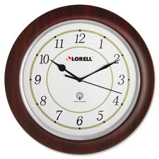 "Wall clock, arabic numerals, 13-1/4"", white dial/woodgrain, sold as 1 each"
