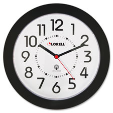 "Wall clock, arabic numerals, 9"", white dial/black frame, sold as 1 each"