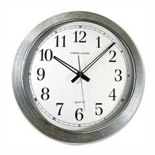 "Wall clock, galvanized metal, 16"", white dial/silver, sold as 1 each"