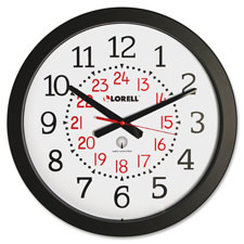 "Military wall clock,12/24 hour,14-3/4"",we dial/bk frame, sold as 1 each"