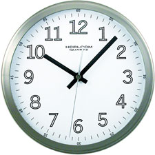 "Wall clock, 9"" round, arabic numerals, silver/white face, sold as 1 each"