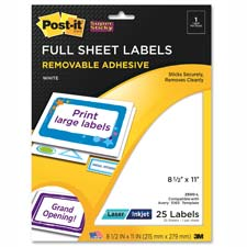 3M Post-it Super Sticky Full-Sheet Labels