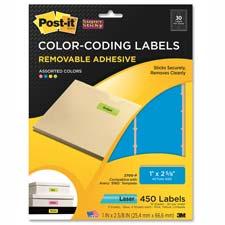3M Post-it Super Sticky Rmvble Color-Coding Labels