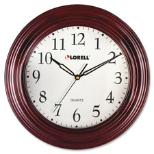 "Wall clock, 13-1/4"", arabic numerals, mahogany frame, sold as 1 each"