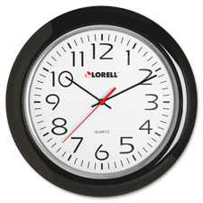 "Wall clock, 13-1/4"", arabic numerals, black frame, sold as 1 each"