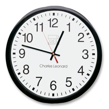 "Wall clock, 12"", plastic, black frame/white dial, sold as 1 each"