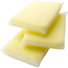 "All purpose cleaning pads, 2-39/64""x4-5/16""x1/2"", 3/pk, yw, sold as 1 package"