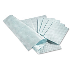 "Pro towels, two-ply, poly-backed, 13""x18"", 500/bx, blue, sold as 1 box, 100 each per box"