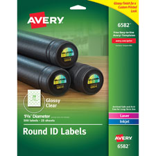 Avery Clear Glossy Round Perm. Multipurpose Labels