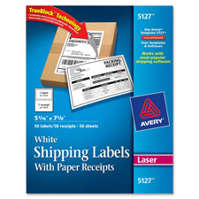 Avery White Shipping Labels w/ Receipt