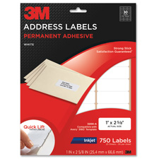 3M 750 Inkjet Permanent Address Labels