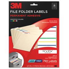 3M 750 Lsr/Inkjt Perm. Adhesive File Folder Labels