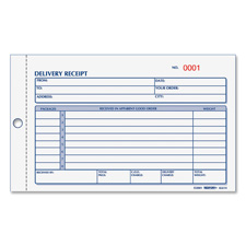 "Delivery receipt book, 3 part, 4-1/4""x6-3/8"", 50.pk, manila, sold as 1 each"