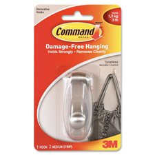 3M Command Timeless Medium Metallic Plastic Hook
