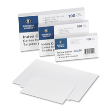 "Index cards, plain, 90lb., 5""x8"", 100/pk, white, sold as 1 package"
