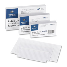 "Index cards, ruled, 72 lb., 5""x8"", 100/pk, white, sold as 1 package"