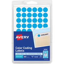 Avery Round 1/2 Dia Color-coding Removable Labels