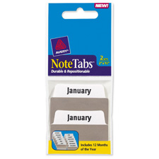 Avery Jan-Dec Durable & Repostionable Notetabs