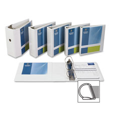 "D-ring binder, w/ pockets, 5"" capacity, white, sold as 1 each"