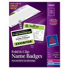 Avery Fold N Clip Name Badges w/Strap