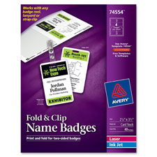 Avery Fold N Clip Pre-punched Name Badges