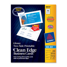 Avery 8859 Business Cards, Inkjet, 2-Sided, Glossy, 2'' x 3-1/2'', 200/PK, WE, AVE8859, AVE 8859