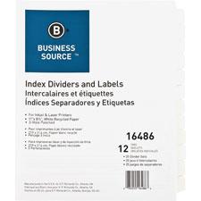 Index dividers, 3hp, 12-tab, 25 sets/bx, white, sold as 1 box, 5 set per box