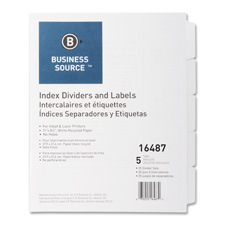 Index dividers, unpunched, 8-tab, 25 sets/bx, white, sold as 1 box, 25 set per box